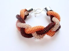 Beaded Crochet Rope Bracelet Salmon Pink and Claret by IneseLoft, £15.00