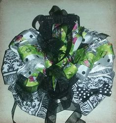 Over the top 6 boutique style hair bow.  Green black