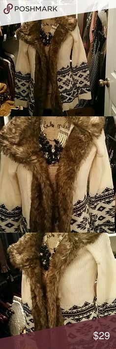 Cozy fur cover up Beautiful warm &cozy alaskian style jacket. Size small but even fits like a M. Rue 21 Jackets & Coats