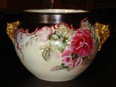 Antique Limoges, France Large Jardiniere with Roses Jean Pouyat-JPL -  France