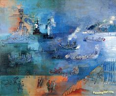 Regatta at Le Havre in Honor or President Gaston Doumergue Artwork by Jean Dufy Hand-painted and Art Prints on canvas for sale,you can custom the size and frame