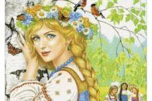 Queen of the Birches pieces) Pagan Art, Devian Art, Ukrainian Art, Draw On Photos, Bohemian Art, Fairytale Art, Arte Pop, Russian Art, Fairy Art