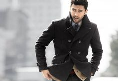 H and M Double Breasted Wool Pea Coat, Black Fall Fashion Trends, Winter Fashion, Winter Outfits, Cool Outfits, Outfit Invierno, Men's Coats And Jackets, Gentleman Style, Stylish Men, Double Breasted