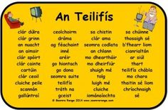 Mata Focal An Teilifís Irish Gaelic Language, Gaelic Words, Primary Teaching, Primary School, Teaching Aids, Irish Memes, 5th Class, Scottish Gaelic, School Resources