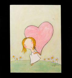 Original  Girl with Heart by carlasonheim on Etsy