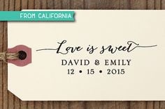 Love is Sweet Wedding Favor Stamp with proof from by savethedate