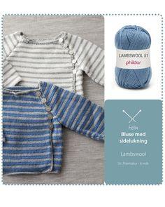 Sød bluse med sidelukning Knitting For Kids, Baby Knitting Patterns, Baby Barn, Baby Boy Dress, Baby Cardigan, Baby Wearing, Knitwear, Baby Kids, Knit Crochet