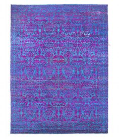 Authentic Handknotted Suzani Sari Silk Violet/Purple/Blue 9'x12' Area Rug Carpet #Agarwal #Contemporary