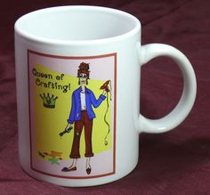 Queen of Crafting Coffee Mug Crafty Productions paint brushes glue gun Tea Cup  #CraftyProductions