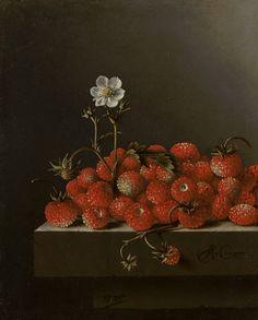 Stilleven met bosaardbeien, Adriaen Coorte, 1705.