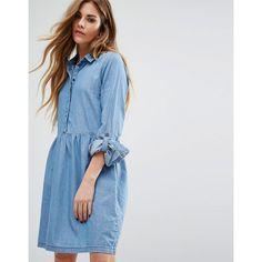 Noisy May Pemplum Hem Denim Skater Dress (325 NOK) ❤ liked on Polyvore featuring dresses, blue, denim skater dress, long-sleeve denim dresses, tall dresses, blue dress and noisy may