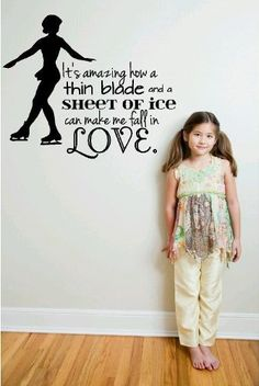 Amazon.com - Decal - Vinyl Wall Sticker : It's Amazing How A Thin Blade And A Sheet Of Ice Can Make Me Fall In Love. Ice Skating Quote Sign ...
