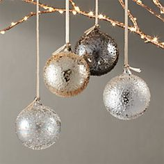 Shop Metallic Glass Textured Ornaments Set of Textured glass ornaments shine with metallic detailing in four colors: clear luster, shiny gold, shiny silver and shiny gunmetal. Modern Christmas Ornaments, Gold Ornaments, Silver Christmas, Christmas Tree Toppers, Christmas Tree Decorations, Holiday Decor, Christmas Ideas, Christmas Christmas, Christmas Centrepieces