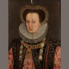 English School, 16th Century Portrait of a noblewoman, said to be Queen Mary, half-length, in an embroidered pink dress with a black jewelled overdress, a ruff and a jewelled hair ornament bears inscription `QUEEN MARY / DAUGHTER TO H