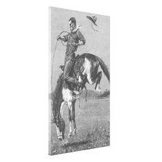 A Bucking Bronco by Remington, Vintage Cowboy Canvas Prints
