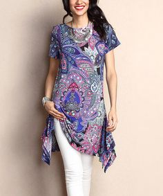 Loving this Purple Floral Sidetail Tunic on #zulily! #zulilyfinds