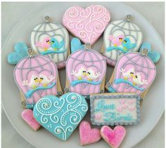 Valentine birdcage cookies by Whoo's Bakery