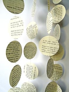 Decor Inspiration: How tasteful and lovely are these new print circle banners. Take cut outs from books of classic literature, highlighting memorable passages. Adds to an old time enchanted ambiance.