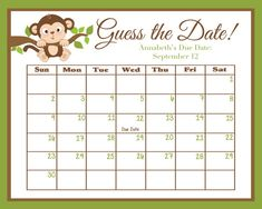 Guess the Date Monkey Baby Shower Game Due by swtleilanidesigns