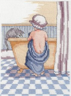 Bathtime - Faye Whittaker Arts, All Our Yesterdays Cross Stitch and Original Art Wesbsite Cross Stitch For Kids, Cross Stitch Baby, Counted Cross Stitch Patterns, Cross Stitch Designs, Cross Stitch Embroidery, Cross Stitch Numbers, Embroidery Online, Christmas Embroidery Patterns, Cross Stitch Collection