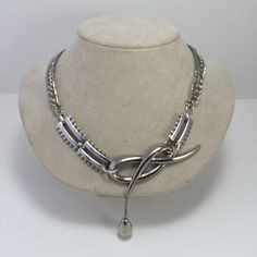Loveknot Necklace Assemblage Silver tone Dangle Double by ravished