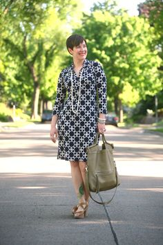 Already Pretty outfit featuring chain print dress, shell pearl necklace, espadrilles, Foley + Corinna Mid-City Tote