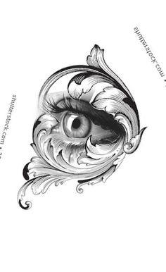 Best Sleeve Tattoos, Tattoo Sleeve Designs, Tattoo Design Drawings, Tattoo Sketches, Head Tattoos, Body Art Tattoos, Ojo Tattoo, Vintage Tattoo Sleeve, Filigree Tattoo