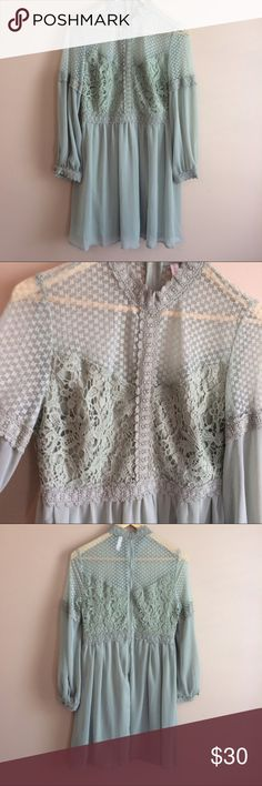 Lace Boho prairie dress mock neck One of my favorite dresses! Beautiful light minty green dress with lace patterning and gorgeous detail!  Sheer shoulders with a mock neck. Like new condition!  Amazing for summer concerts and festivals! Size large Dresses