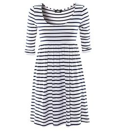 h navy and white striped dress. Short Sleeve Dresses, Dresses With Sleeves, Dress Me Up, Get Dressed, Striped Dress, Navy And White, Dresses For Work, My Style, Sleeved Dress