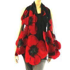 Nuno vilten sjaal - grote sjaal - wol en zijde - rode en zwarte sjaal