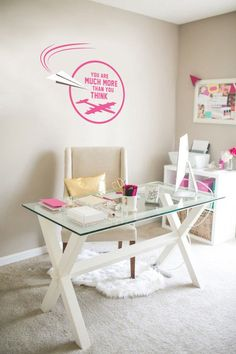 Home Office Setup, Home Office Organization, Home Office Space, Home Office Design, Office Ideas, Cozy Office, Kids Homework Station, Feminine Home Offices, Wall Decor Stickers