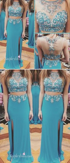 2016 prom dresses, two-pieces prom dresses, long blue prom dresses