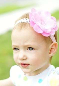 pink baby hair bow flower ...choose 1 sequin flowers head band... baby hairbow...toddler and big girls...infant..newborn. $6.99, via Etsy.