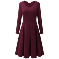 Bulotus Womens Casual Cotton Long Sleeve Round Neck Plus Size Flared... ($30) ❤ liked on Polyvore featuring dresses, long sleeve dress, maroon dress, purple midi dress, plus size dresses and long sleeve purple dress