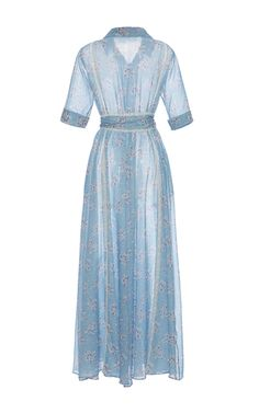This **Luisa Beccaria** dress features a notched collar, maxi length hemline, and self ties at the waist.