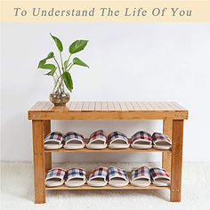 Huikai Bamboo Stool Shoe Cabinet Shoe Rack Garden Foot Stool Storage Stool Simple Style *** Find out more about the great product at the image link. (This is an affiliate link) Bamboo Shoe Rack, Wood Shoe Rack, Shoe Rack Entryway Bench, Shoe Rack Garden, Storage Stool, Rack Shelf, Shoe Cabinet, Simple Style, Home And Living