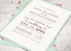 FLORAL WEDDING INVITATIONS - Printable Designs - Mint Green Pink - Modern Graphic Print via Etsy
