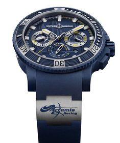 Ulysse Nardin Diver Chronograph Artemis Racing En sintonía con el patrocinio que sostiene la firma helvética, esta pieza luce una deportividad excepcional, además de incluir un calibre manufactura con tecnología de silicio.  #WatchesWorld, los relojes de tu vida.