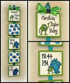 Disney Monsters Inc Style Birth Announcement for baby's nursery or child's bedroom - personalized wall art Monsters Inc Nursery, Monsters Inc Baby Shower, Monster Nursery, Monster Baby Showers, Shower Bebe, Baby Boy Shower, Baby Shower Gifts, Baby Gifts, Disney Nursery