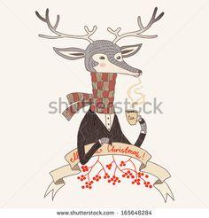 Cartoon deer vector character illustration, Isolated. - stock vector Copyright: Anastasia Mazeina