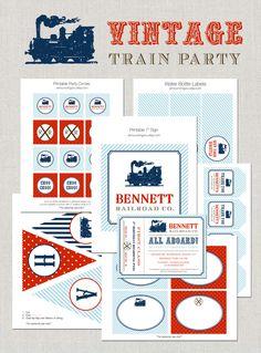 Printable Vintage Train Party Collection DIY by announcingyou