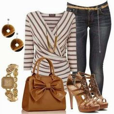 Casual outfit, think I could do these stripes Fashion 2017, Love Fashion, Fashion Outfits, Womens Fashion, Fashion Trends, Fashion Ideas, Fashion Inspiration, Cool Outfits, Casual Outfits