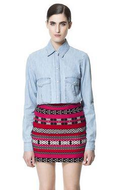 Jasna jeansowa koszula - Zara