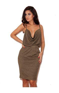 Fara Bronze Metallic Drape Dress