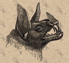 Vintage image Bat Instant Download Digital printable clipart graphic - scrapbooking,decoupage,burlap,kraft, mail art etc HQ 300dpi by UnoPrint on Etsy