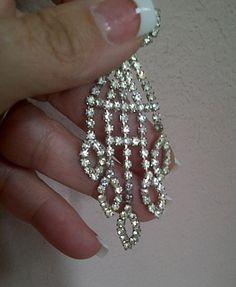 Vintage Art Deco Rhinestone Dangle/Drop Earrings by maggiecastillo, $15.00