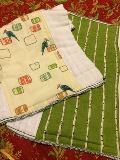 katydidslinens.etsy.com baby burp cloth set woodpecker birch tree