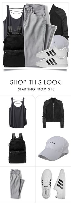 """""""school style"""" by madeinmalaysia ❤ liked on Polyvore featuring Kavu, Rick Owens, Valentino, Lands' End and adidas"""