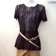 Cynthia Rose black leather cut out top with Roberto Cavalli gold belt. Top size S. Please call (949)715-0004 for inquiries.