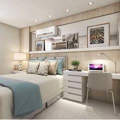 """577 curtidas, 7 comentários - • Arquitetura e Decor ❤ (@arquitetura.interiores) no Instagram: """"Quarto de casal com tons neutros e um leve toque de cor Projeto: @claudiny"""""""